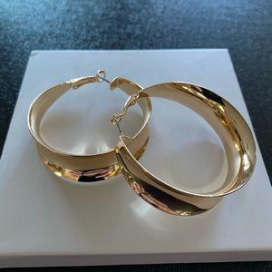 Bohemian gold tone hoop earrings